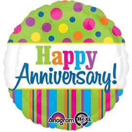"Foil Balloon - Colorful Happy Anniversary - 18"""