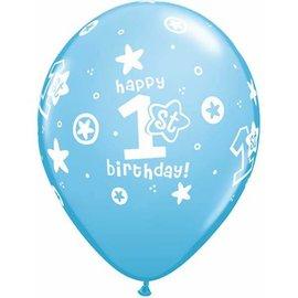 "Latex Balloon-1st Birthday Circle Stars Boy-1pkg-11"""