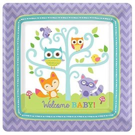 Plates-BEV-Square- Woodland Welcome - 8pk- 7""