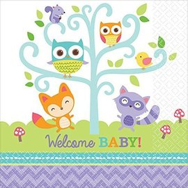 Beverage Napkins - 16pcs - Baby Shower - Woodland Welcome