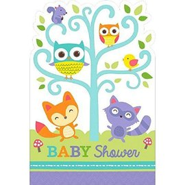 Postcard Invitation - Baby Shower - Woodland Welcome - 8pcs
