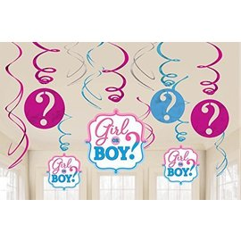 Swirl Decoration - Baby Shower - Gender Reveal- 12pcs
