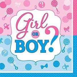 Lunch Napkins - baby Shower - Gender Reveal - 16pcs