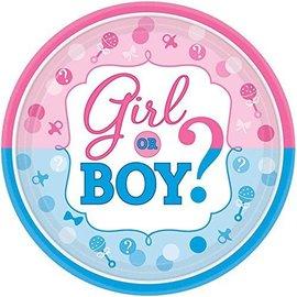 Large Plates - Baby Shower - Gender Reveal - 8pcs