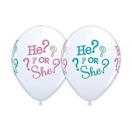 "Latex Balloon - He or She (12"") -1pc"