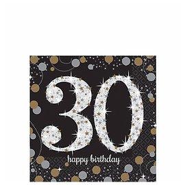 Napkins - BEV - 30th Happy Birthday -2ply -16pk
