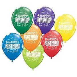 "Latex Balloons - Birthday Loops & Stars - 11"""