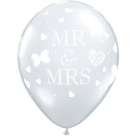 Latex Balloons - Mr & Mrs - Clear - 11""