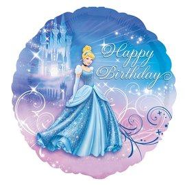 "Foil Balloon - Cinderella Happy Birthday - 17"""
