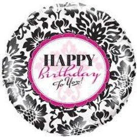 "Foil Balloon-Elegant Damask-HBD To You! - 18"""