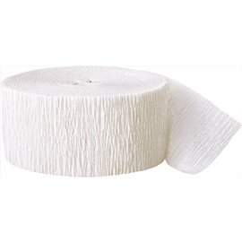 "Paper Crepe Streamer-Frosty White (500 feet x 1.7"")"