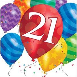 Napkins-LN-21 Birthday Balloon-16pk - 2ply