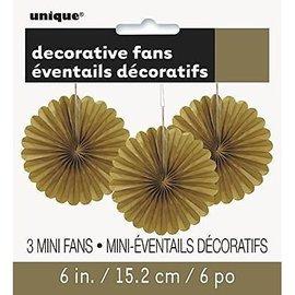 """Decorative Fans Paper - Gold 6"""""""