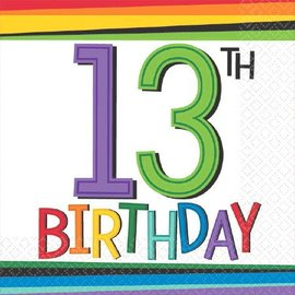 Napkins-Bev-13th Rainbow Birthday-16pk-2ply