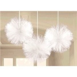 Tulle Fluffy Decoration-White-12''-3pk