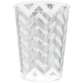 Tumblers-Premium Quality-Plastic-Silver Chevron-10oz-20pk