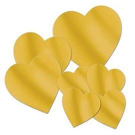 """Cutouts-Foil-Gold Hearts-7pkg-4""""-12"""""""
