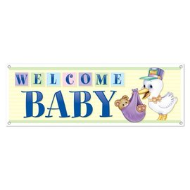 Sign Banner-Plastic-Welcome Baby-1pkg