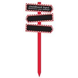 """Yard Stake-Chalkboard-Red Gingham-(29""""x10.5"""")"""