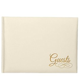"""Guest Book-Ivory with Gold Detail- (6.5""""x8.5"""")"""