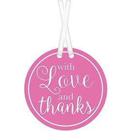 Tags-With Love And Thanks-Bright Pink-25pk/2''