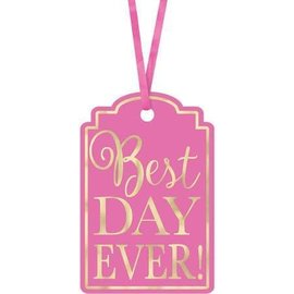 """Tags Best Day Ever Bright Pink 25 Pcs (2""""X3"""")"""