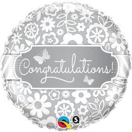 """Foil Balloon - Congratulations Flowers - 18"""""""