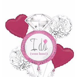 Foil Balloon Bouquet - I Do Elegant Pink Wedding - 5 Balloons - 2.25ft