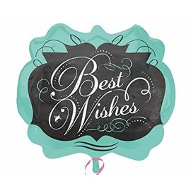 "Foil Balloon - Best Wishes Chalkboard - 25""x22"""