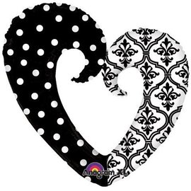 "Foil Balloon - Damask and Dots Heart - 32""x30"""