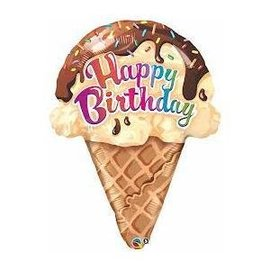 "Foil Balloon - Happy Birthday Ice Cream Cone - 27"""