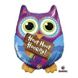 """Foil Balloon - Hoot Hoot Hooray Colorful Owl - 36"""""""