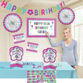Decorating Kit-Customizable-Pink & Teal Birthday-8pcs