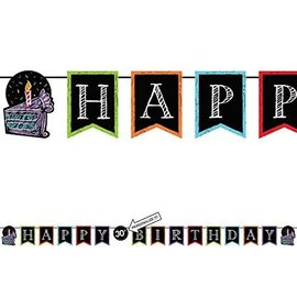 "Shaped Banner-Customizable-Chalk Happy Birthday-1pkg-6""x9ft"