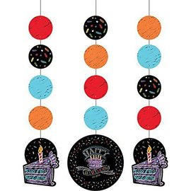 Hanging Cutouts-Chalk Happy Birthday-3pkg-36""