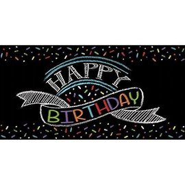 Table Cover-Chalk Birthday-Plastic-54''x102'' - Discontinued