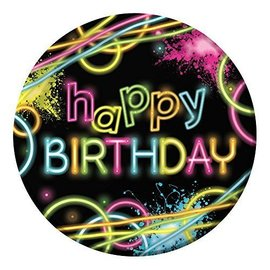 Plates-LN-Glow Party Happy Birthday-8pkg-Paper - Discontinued