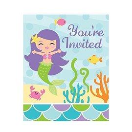 """Invitations-Mermaid Friends-8pkg-5""""x4"""""""