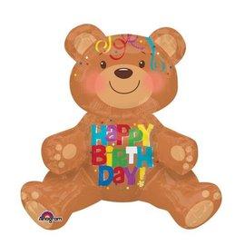 "Foil Balloon-Happy Birthday Sitting Bear 17"""