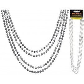 Bead Necklaces-Metallic Silver-32''-4pk