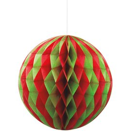 Red and Green Honeycomb Ball 8""