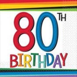 Napkins - Bev - 80th Birthday-16pk - Discontinued