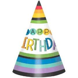 Hat- Rainbow Birthday Cone-8pk