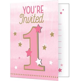 Invites - One Little Star Pink