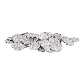 Coins-Plastic-Silver with Embossed Design-100pkg-1.5""