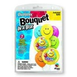"""Foil & Latex Balloon Bouquet - Get Well Soon Smiley Faces - 7pc - 11""""-18"""""""
