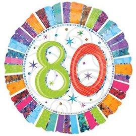"Foil Balloon - 80 Radiant Birthday - 18"""
