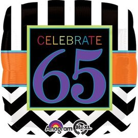 Foil Balloon - Celebrate 65 Chevron - 18""