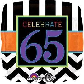 "Foil Balloon - Celebrate 65 Chevron - 18"""