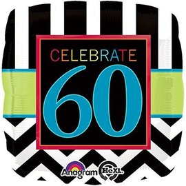 Foil Balloon - Celebrate 60 Chevron - 18""